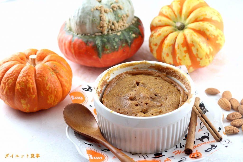 パンプキンのマグカップケーキ(レンジで2分完成)・うちのダイエット食事・ココットうを使ってレンジで2分ケーキが作れます。