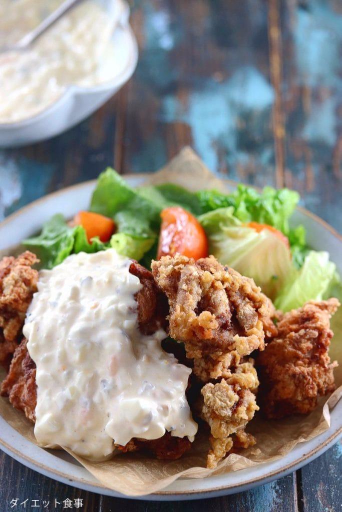 チキン南蛮の作り方・うちのダイエット食事・自家製タルタルソースが唐揚げの上に載せてあります。