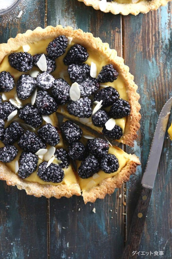 レモンカードのベリータルト・うちのダイエット食事・レモンパイのレシピは砂糖不使用です!