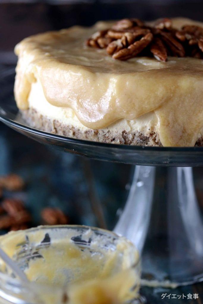 糖質制限キャラメルチーズケーキ・うちのダイエット食事・糖質オフチーズケーキはキャラメルがけで!