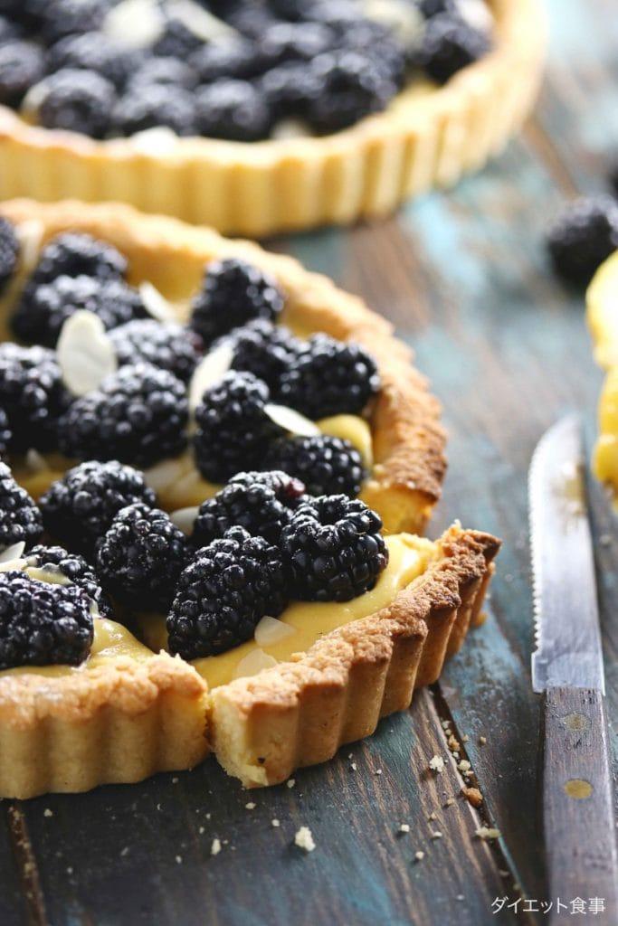 レモンカードのベリータルト・うちのダイエット食事・ブラックベリーたっぷりのレモンパイレシピ