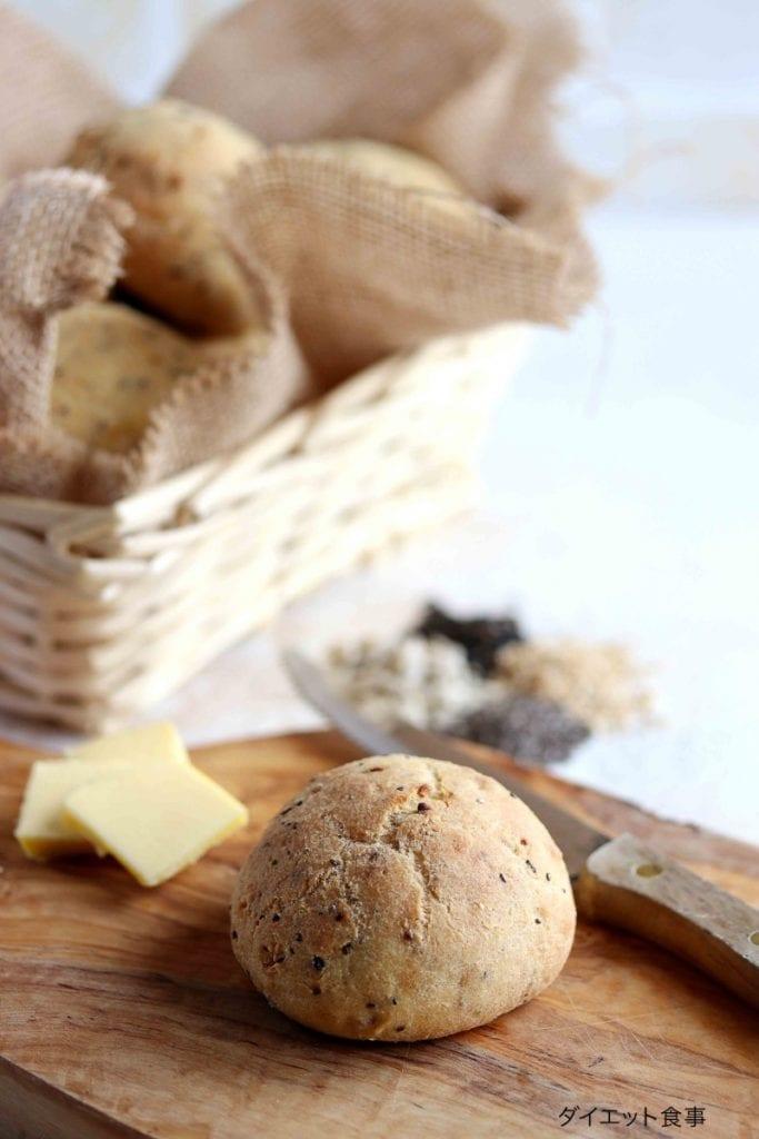 糖質制限丸パンのレシピ・うちのダイエット食事・サイリウムを使うパンのレシピ