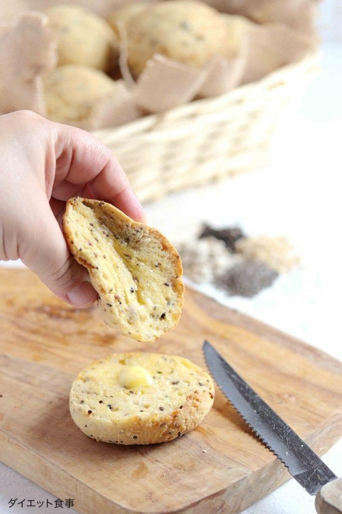 糖質制限丸パンのレシピ・うちのダイエット食事・グルテンフリーでふわふわのサイリウムのレシピです。