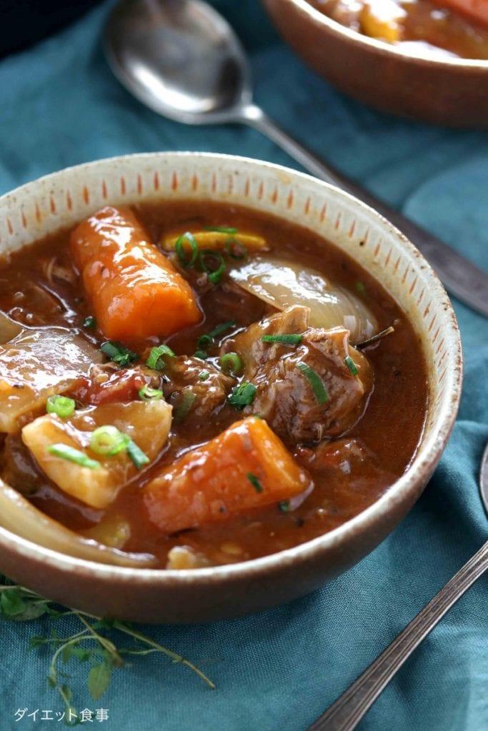 スロークッカーでラムシチュー・うちのダイエット食事・ラム肉の煮込みは最高!