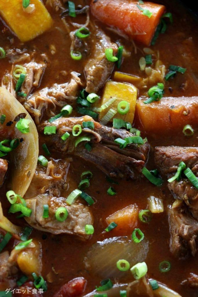 スロークッカーでラムシチュー・うちのダイエット食事・柔らかラム肉のシチュー
