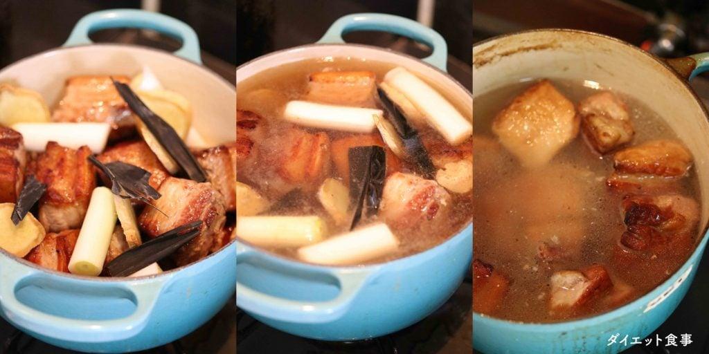 豚の角煮の煮方